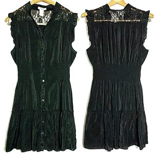Flutter Sleeve Dress Tunic Lace Black Large